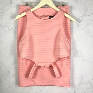 2 Piece Pink Ribbed Set